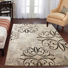 Better Homes and Gardens Iron Fleur Area Rug, Beige