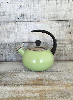 Enamel Tea Kettle Retro Green Metal Teapot with Resin Handle Vintage Whistling Tea Kettle Green Teapot Mid Century Retro Kitchen by TheDustyOldShack on Etsy