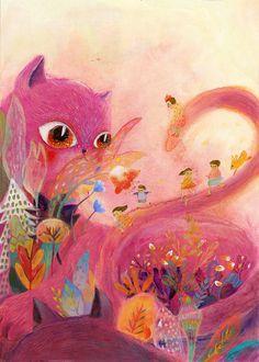 Chinese illustrator, Zhetiti World who creates narrative images using integrated materials. Check out Zhetiti's portfolio Bright Art, Guache, Children's Book Illustration, Illustration Children, Book Illustrations, Yoga Art, Children's Picture Books, Cat Art, Painting & Drawing