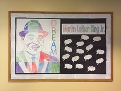 "Martin Luther King Jr. collaboration art project for students and teachers. Each student participates in one of the pieces for the overall portrait of Martin Luther King Jr. This makes a great bulletin board display and a strong visual for your students about the power of working together. ""One student even remarked she just couldn't ""see"" how it was going to turn out, but she was very impressed when it was completed."""