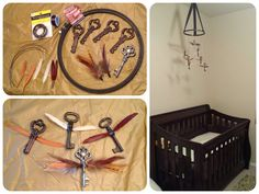 DIY flying keys baby mobile for a Harry Potter inspired nursery. Made this out of $1 keys from Michael's, feathers as wings, string, hot glue, wire, ribbon, and an embroidery hoop!
