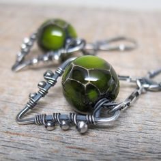 Ectoplasm Earrings ... Artisan Wire Wrapped by ElementsArtifacts, $48.00