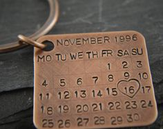 This key ring/ bag charm is made from a 26mm square solid copper charm which is personalised with your chosen calendar month and a year. Your memorable day is then highlighted with a heart stamp. The charm is oxidised and wire brushed. It comes with a copper plated split ring.  Supplied in a small organza bag and a lovely gift box, ready for giving.  Please leave a note stating which month and a year you would like me to stamp on and also which day you want highlighted with a heart. If you…