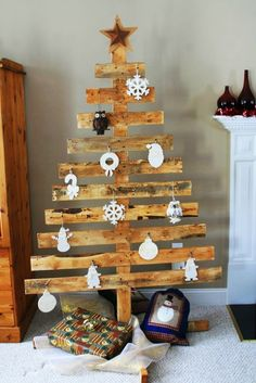This is a great, green and creative way of getting a Christmas tree. A scrap wood Christmas tree will surprise your guests and it will make you feel satisfied because you have made it yourself. This idea is perfect for small rooms.