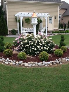 Garden art, lawn and garden, corner landscaping ideas, outdoor Landscaping Supplies, Landscaping With Rocks, Outdoor Landscaping, Front Yard Landscaping, Outdoor Gardens, Corner Landscaping Ideas, Inexpensive Landscaping, Front Yard Flowers, Flowers Garden