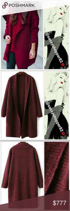 """Coming soon! Chic Red Wine cardigan Coming soon!! Price to be $62 New! **Limited quantity**  Chic and sophisticated this deep red wine colored cardigan features a long turn down collar. Stay warm and cozy in this 'Season Must Have'. Pair with jeans,tshirt and boots or over a little sassy dress with heels. Perfect for the season.  One size Length approx 38"""" Sweaters Cardigans"""