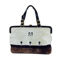 Roberta di Camerino cream, black & chocolate brown velvet handbag 1970s | See more vintage Top Handle Bags at https://www.1stdibs.com/fashion/handbags-purses-bags/top-handle-bags in 1stdibs