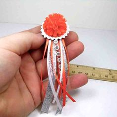 Orange & White w/Silver Accents Teeny Tiny Miniature Homecoming Mum pin or brooch  Orange and by beesocks via etsy.com
