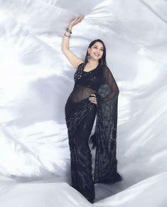 Black Saree, Madhuri Dixit Hot, Goth, Actresses, Manish Malhotra Saree, Beauty, Shopping, Latest Designer Sarees, Indian Sarees