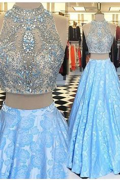 Beautiful sequins top blue lace prom dress, two piece dress, prom dresses for teens