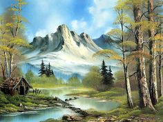Peaceful Landscape Paintings by Bob Ross  - Bob Ross oil paintings  : Mountain Cabin  26