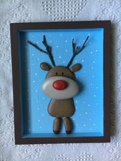 Excited to share the latest addition to my shop: Reindeer decor, reindeer . - Froggy and Co Creations - Pebble art creations for nursery and kid's rooms Christmas Pebble Art, Christmas Rock, Christmas Crafts, Christmas Ornaments, Christmas Time, Stone Crafts, Rock Crafts, Arts And Crafts, Diy Crafts