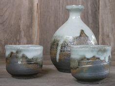 Shino Sake Set Sake Bottle Sake Cups Ceramic Handmade by Singhato