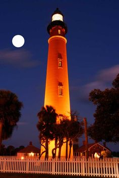 nighttime view ~ I lived in Fl. not far from this one and when we would go to this great restuarant near there we would always be so close to this one.  Ponce Inlet lighthouse