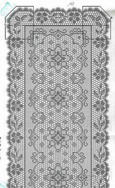 Kira scheme crochet: Scheme crochet no. Crochet Table Runner Pattern, Crochet Motif Patterns, Filet Crochet Charts, Crochet Lace Edging, Crochet Tablecloth, Thread Crochet, Diy Crafts Crochet, Crochet Home, Hummingbird Crochet