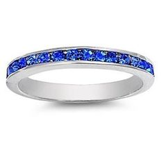 3mm .925 Silver WHITE GOLD TONE Stackable Rim BLUE SAPPHIRE SEPTEMBER BIRTHSTONE 360 CZ Eternity Ring THE ICE EMPIRE. $17.95. CHOOSE FROM 10 DIFFERENT COLORS & STYLES RING BANDS. FIT: VERY COMFORTABLE. METAL: .925 STERLING SIVLER. STYLE: BLUE SAPPHIRE SEPTEMBER BIRTHSTONE 360 CZ Eternity Ring. THICKNESS: 3MM
