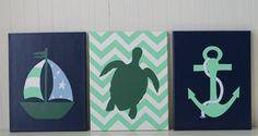 Nautical Nursery Decor Nautical Painting Mint Green Navy Nursery Anchor Sailboat Nursery Sea Turtle Nursery Modern Nursery Decor