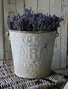 Zinc bucket with raised lettering...