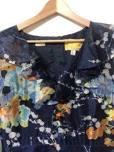 Vintage Blue Floral Dress Size 14 – dorothyhouse.shop Size 14 Dresses, Blue Dresses, Slow Fashion, No Frills, Blue Yellow, 1970s, Floral Tops, Floral Design, Size 12