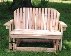Great handmade wooden Coaches Chair, perfect on your deck or back patio Wooden Gifts, Handmade Wooden, Deck Design, Chair Design, Porch Glider, Cedar Stain, Wood Patio Chairs, Picnic Table Plans, Stainless Steel Fasteners