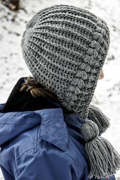 Häkelanleitung für eine Quasten-Mütze, Kapuzen-Mütze. bei Makerist - Bild 2 Chunky Crochet Hat, Crochet Hood, Crochet Baby Beanie, Crochet Headband Pattern, Knitted Hats, Puff Stitch Crochet, Crochet Cap, Crochet Designs, Crochet Patterns