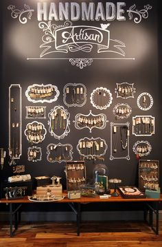 Tell a story! Let customers know where their products are coming from… and who made them. #Merchandising #Retail #Chalkboard Retail Wall Displays, Market Displays, Store Displays, Earring Display, Necklace Display, Jewelry Store Design, Boutique Jewelry Display, Jewelry Wall, Hanging Jewelry