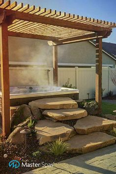 Pergolas are as much about style as they are function. Check out these pergola designs that will inspire your backyard makeover! Hot Tub Pergola, Hot Tub Backyard, Hot Tub Garden, Backyard Pergola, Pergola Plans, Backyard Landscaping, Wood Pergola, Modern Pergola, Pergola Kits
