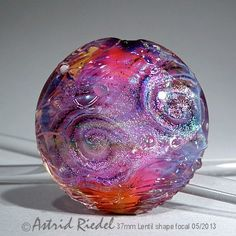 Cosmic Pink Art Glass 37mm Focal bead lampwork by by AstridRiedel, $75.00