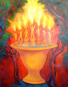 Zechariah 4  Original Oil Painting  Expressionist, Spiritual Fire light Dancers, Red Yellow Green,Shirin Mackeson. $450.00, via Etsy.