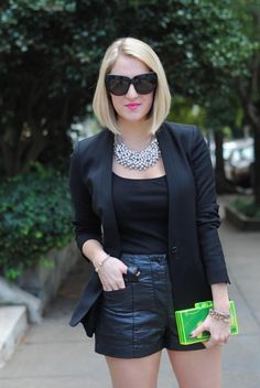 A Lacey Perspective in a Black Blazer and Leather Shorts