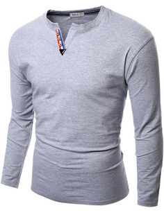 Doublju Mens V-neck Highlight Henley Tee Shirts #doublju