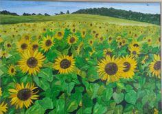 Field of sunflowers   watercolour