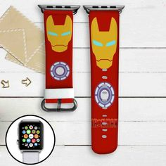 Iron Man Superheroes Custom Apple Watch Band Leather Strap Wrist Band Replacement