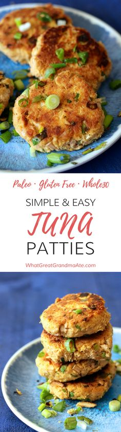 Gluten free and paleo tuna patties that take less than 15 minutes to make! It's a delicious simple recipe your family will love.