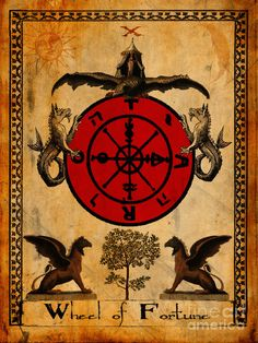 Tarot Card Wheel Of Fortune Painting