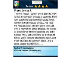 The only reason I cannot give 5 stars to ANLC is that the adoption process is daunting,...