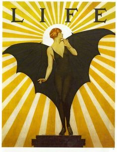 illustration : magazine Life, déesse chauve-souris, jaune - noir