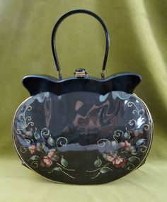 1950's Black with Embroidered Flowers Lucite Top Purse