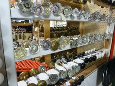 Glass, Brass door knobs and tons of antique hardware  spotted at Angela's Attic in So. Beloit, IL.