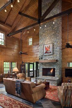 Custom Log Home on Old Hickory Lake by Honest Abe Bar Design, Cabin Design, House Design, Design Hotel, Log Cabin Living, Log Cabin Homes, Log Cabins, Rustic Cabins, Color Palette For Home