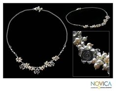 Pearl flower necklace, 'Wild Roses' $115.19
