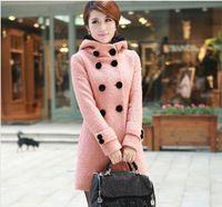 Versão coreana do inverno casaco de lã de lã casaco longo trespassado casaco de lã