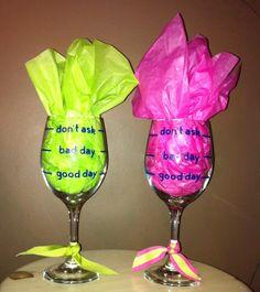 Dollar Store Wine Glasses and  Vinyl Lettering using Cricut