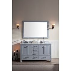 Shop for ARIEL Cambridge 61-inch Double-sink Grey Vanity Set. Get free delivery at Overstock.com - Your Online Furniture Outlet Store! Get 5% in rewards with Club O! - 18034492