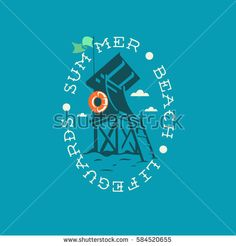 71ffafec10fb Summer Beach Lifeguards Tower Drawing Oval Emblem Logo Label Design. Vector  Graphic.