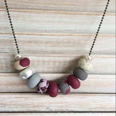Wine grey and silver coloured necklace polymer by Rubybluejewels