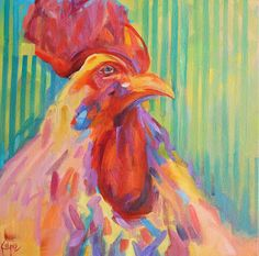 Daily Painters Abstract Gallery: Kaleidoscope Rooster by Kay Wyne