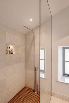 #shower #bahroom #woodenbathroom #woodenshower #modernbathroom #toilet #ensuite #bathroomtiles #showertiles #washroom #showerroom Budleigh Salterton, Interior Architecture, Interior Design, Newquay, Wooden Bathroom, Room Tiles, Washroom, Devon, Toilet