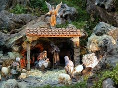 A nativity scene is the most important decoration. Most families have one in their home that they have built together. Christmas Crib Ideas, Merry Christmas Baby, Christmas Tea, Christmas Holidays, Christmas Crafts, Christmas Decorations, Xmas, Nativity House, Christmas Nativity Scene