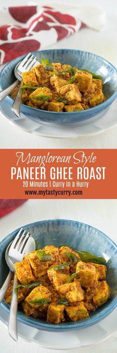 Paneer ghee roast is mangalore recipe adapted from very popular Mangalore chicken ghee roast recipe. A rich and hearty paneer ghee roast Indian curry